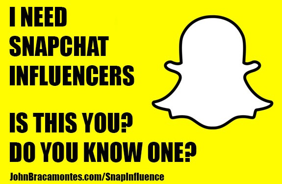 Are You or Do You Know of a SnapChat Influencer?